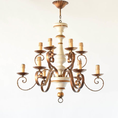 Vintage Italian chandelier with painted wood column and gilded metal arms