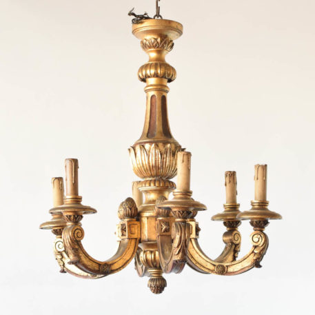 Antique Italian wood chandelier with hand carved details and 6 arms