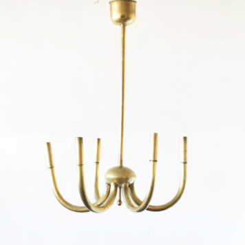 Simple Mid Century Brass Chandelier from Italy