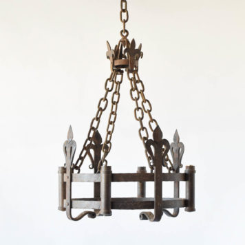 Antique French iron chandelier with neo gothic design