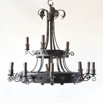 very large vintage French chandelier with lights on 2 levels