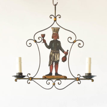 Vintage Iron chandelier from France with a painted cut out of a wine sommelier