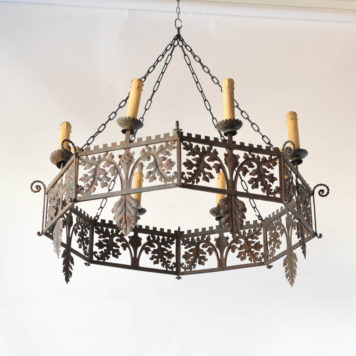 Antique Italian Chandelier with Leaves throughout band and stylized shields