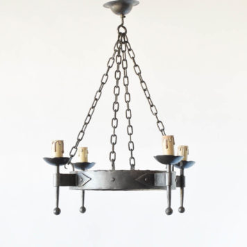 Pair of Vintage French Iron chandeliers with simple forged rings