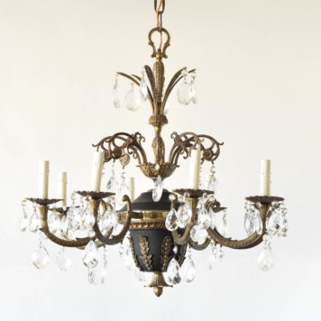 French empire style bronze chandelier with crystal pendants