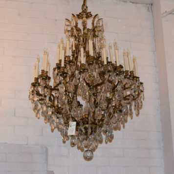 Monumental Bronze and crystal chandelier made in Italy with hand polished crystals and 36 lights