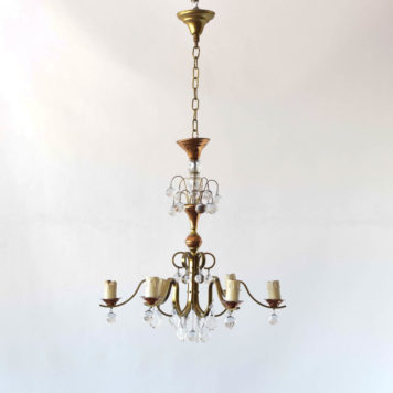 Copper and brass chandelier from Belgium with smooth crystal balls.. Art deco.