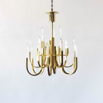 Brass and gold Boulanger chandelier. Mid century style.