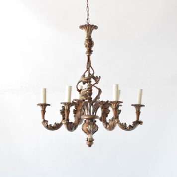 Italian Wood Carved Style Chandelier with 6 Lights