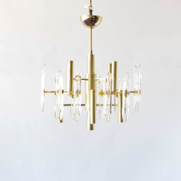 8 light mid century brass chandelier. Attributed to Boulanger with Sciolari design.