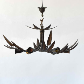 Gilded Spanish 6 light semi flush with pointed leaves.