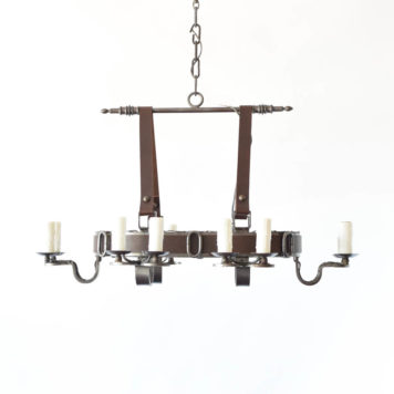 Rustic Flemish Chandelier from Belgium wirapped in leather band hung from 2 leather straps