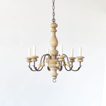 Wooden Chandelier with 6 curved arms and 6 lights