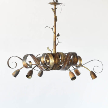 Gold Chandelier from Spain Suspended by 1 Rod with 6 Down Lights and 1 Center Light