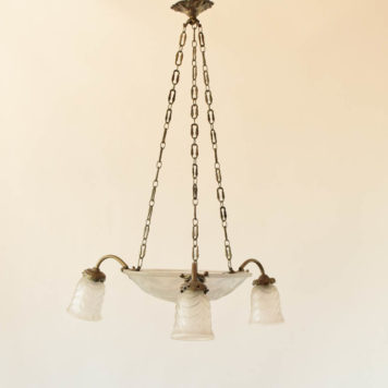Frosted glass chandelier with 3 down lights