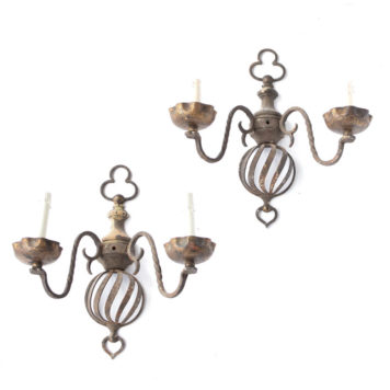 Pair of wood and iron Flemish 2 light sconces