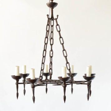 8 light hand forged iron chandelier with torches