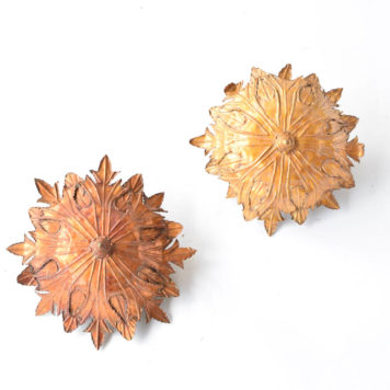 pair of gilded Spanish sun form leafy flush mounts