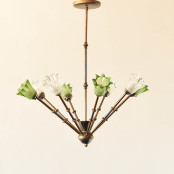 Mid century brass chandelier with green and clear glass details