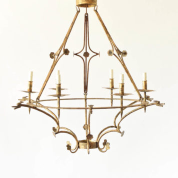 Pair of gilded Spanish 6 light chandeliers with dragon heads