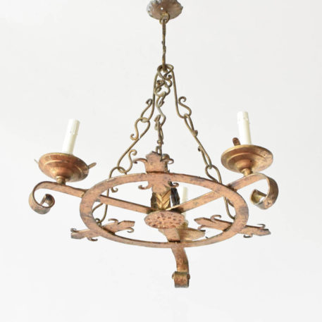 Small Spanish chandelier with S hook suspension.