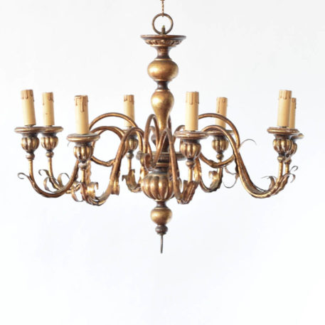 Wood and iron chandelier from Italy with 8 lights.