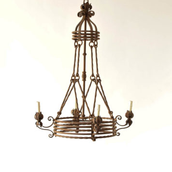 4 light tiered chandelier from France hung by rods and rings