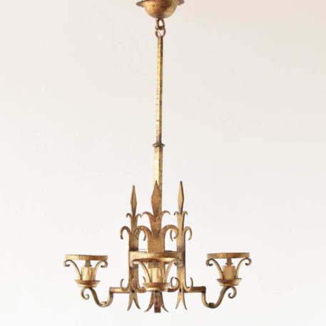 Tall 3 light gold chandelier with fleur de lis