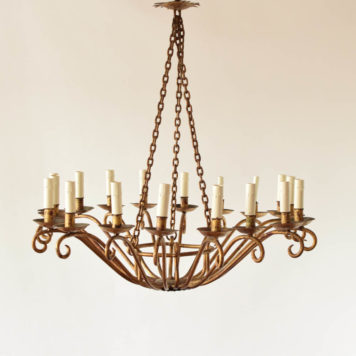Extra large gold Spanish chandelier in bowl form