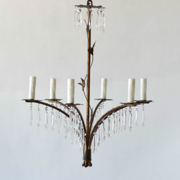 Tall simple Spanish chandelier with crystal fringe