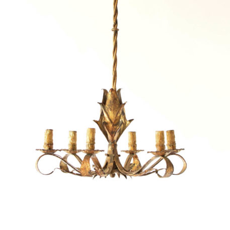 Gilded Spanish 6 light chandelier with leaves on columns