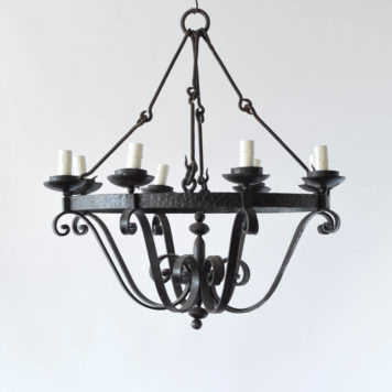 Bowl shaped black iron chandelier with 8 lights.