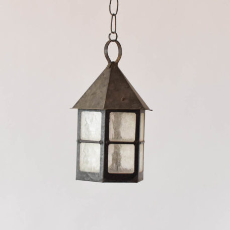 Rustic iron lantern with window style glass panels
