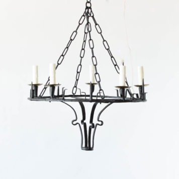Neogothic brass and iron chandelier with
