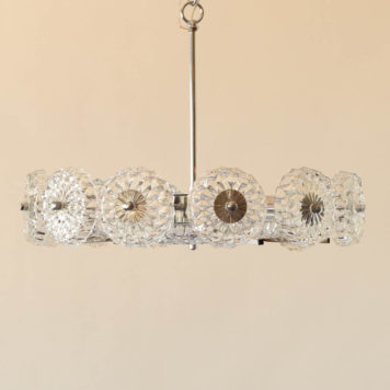 6 light mid century glass chandelier