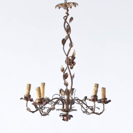 Organic gilded iron chandelier with corkscrew column and 6 lights.