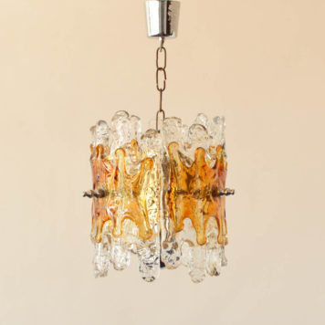 Mid century 3 light chandelier with amber colored glass