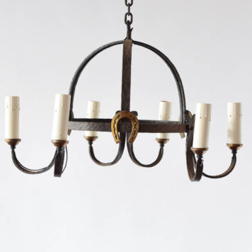 Iron dome chandelier with horseshoe detail