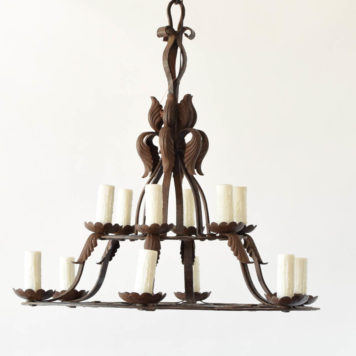 Hand forged 13 light iron chandelier