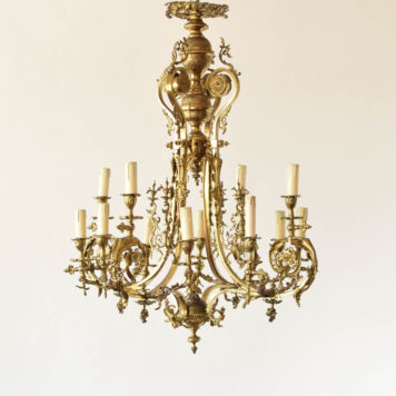 Antique 12 light gas rococo chandelier