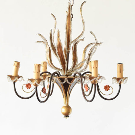 Organic 6 light gold chandelier with beaded leaves from Italy