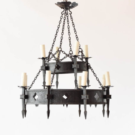 2 tier iron ring chandelier with 4/8 lights and diamond cutouts.