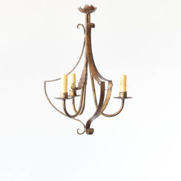 Small gilded chandelier from Spain with 3 lights.