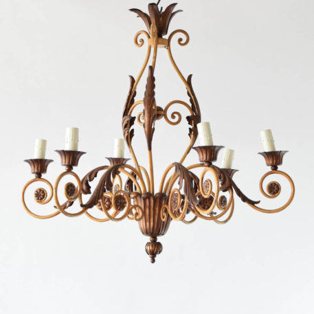 6 light French chandelier with ivory patina.