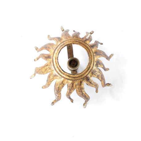 Gold sun form flush mount with 1 light