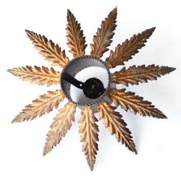 Dark gold sun flush mount