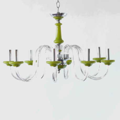 Mid century glass chandelier with man made green accents.