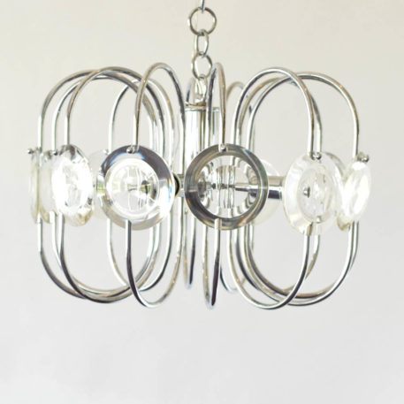 Mid century Sciolari style chandelier with glass disc