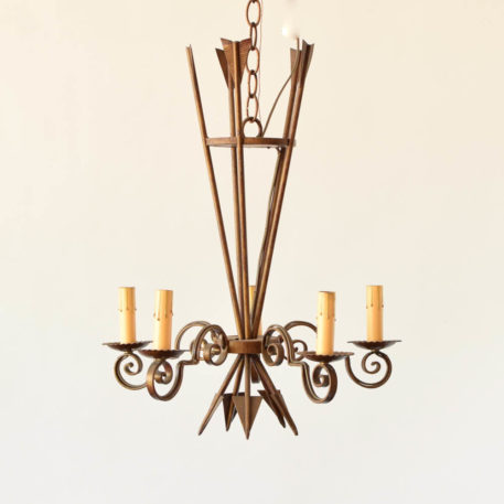 Iron Chandelier with arrows and 5 lights