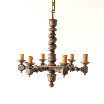 Wooden Belgian chandelier with barley twist and 6 lights